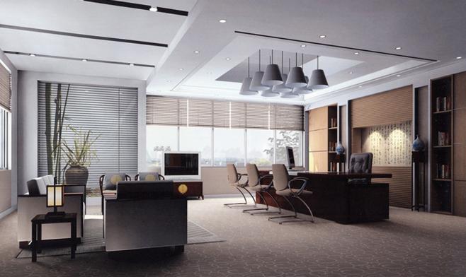 办公室家具大班台与班前椅展示