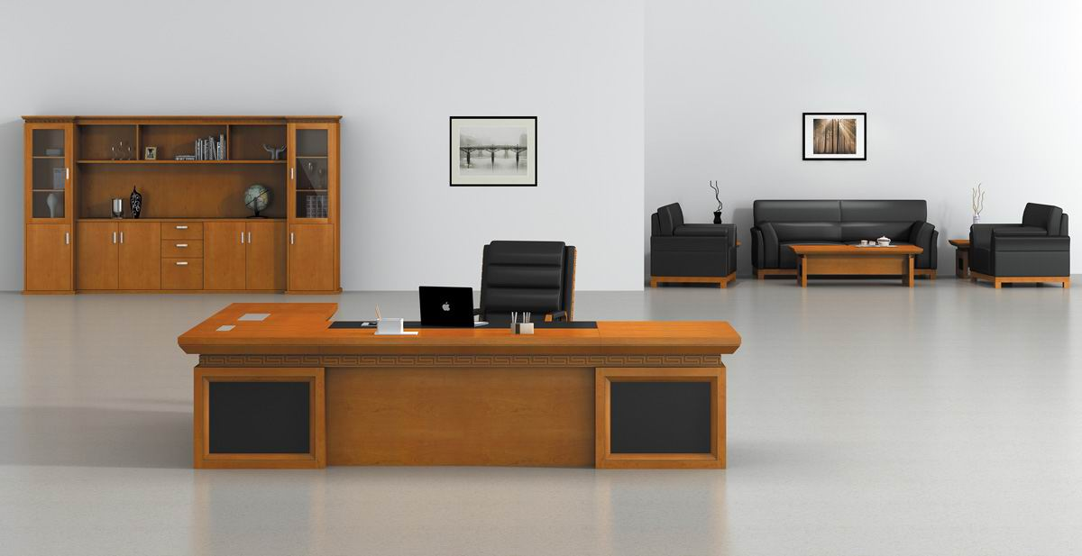 办公室家具虎斑木制成的大班台展示